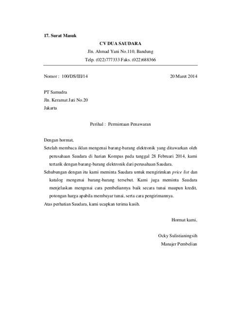 Contoh Surat Promosi Barang Elektronik by Contoh Surat Masuk Dan Surat Keluar