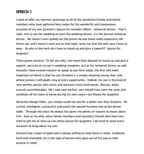 Sle Of The Groom Speeches Free sle graduation speech exle 9 free documents in