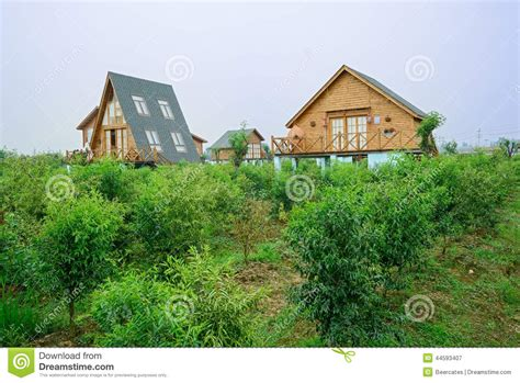 Cabins Orchard by European Style Wooden Cabins In Summer Orchard Stock Photo