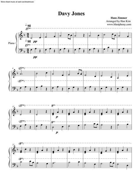 tutorial piano pirates of the caribbean pirates of the caribbean davy jones sheet music davy