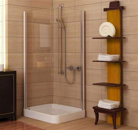 tiny bathroom with shower corner small shower with clear glass around and white