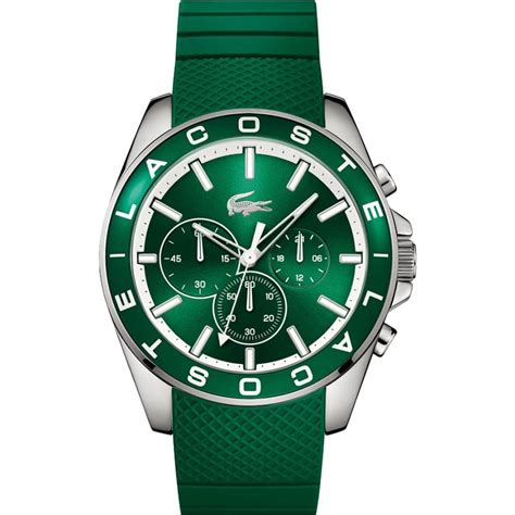 lacoste s westport green rubber chronograph