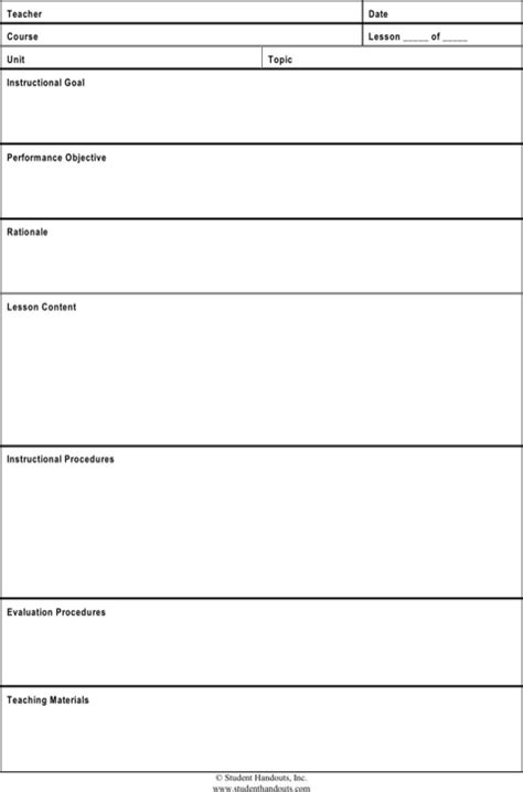 guidance lesson plan template plan template for free formtemplate