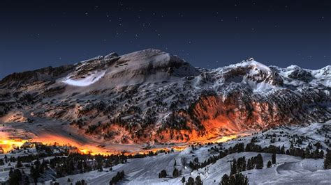 ice mountains landscapes snow night fire deviantart high