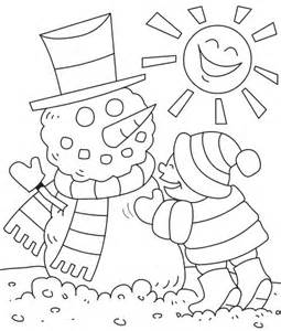 Snowman in winter coloring pages gt gt disney coloring pages