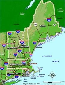 Where Is New England On The Map by State Maps Of New England Maps For Ma Nh Vt Me Ct Ri