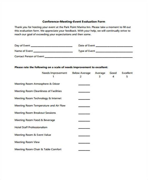 32 Free Event Evaluation Form Conference Evaluation Form Template