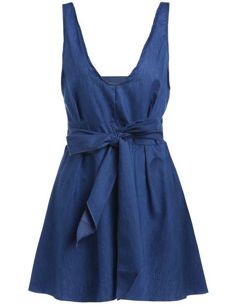 Denim Dress solid color open back lace up halter denim dress for