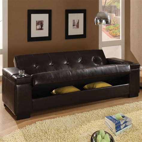 leather futon with storage sleeper sofa futon bm furnititure