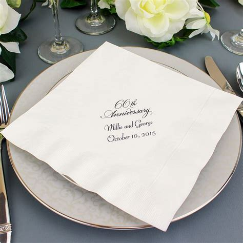 Wedding Anniversary Dinner Ideas by Custom Printed 60th Wedding Anniversary Dinner Napkins