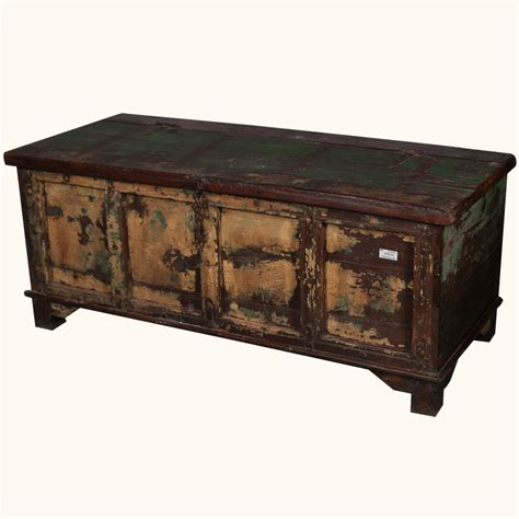 Trunk Style Coffee Table Storage Box Coffee Table Rustic Distressed Reclaimed Wood Antique Style Trunk Ebay