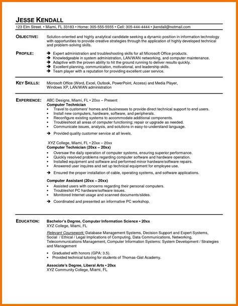 sle resume sle resume for technician 28 images exle of a