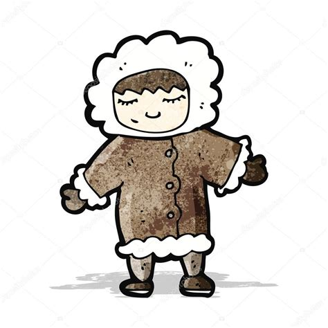 imagenes de invierno dibujos animados hombre de dibujos animados en abrigo de piel de invierno