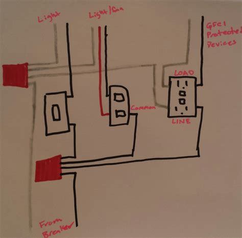 wiring bathroom vent fan with light wiring get free
