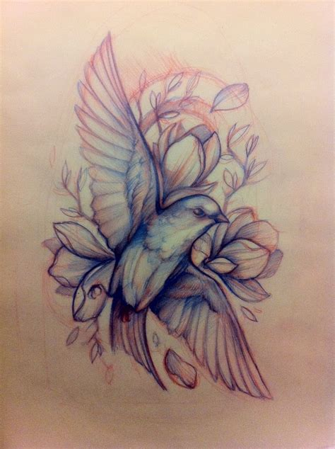 bird and rose tattoo bird sketch