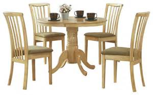 Round dining room set in natural light wood transitional dining