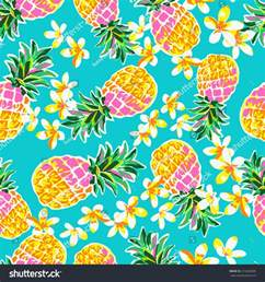 Hibiscus Flower Fabric - cute pineapples seamless fashion print stock vector