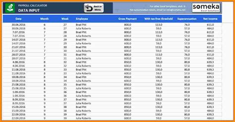 12 excel payroll calculator template canada sles of
