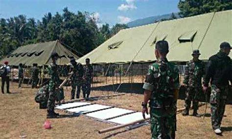 Tenda Serbaguna Tni tni bangun tenda pengungsian di sambirenteng ini alasannya balipost