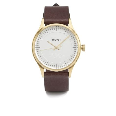 tsovet s simple gold leather brown