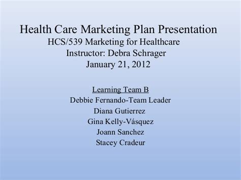 healthcare marketing plan template health care marketing plan presentation