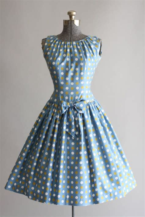 dot pattern in french vintage 1950s dress 50s cotton dress french blue polka