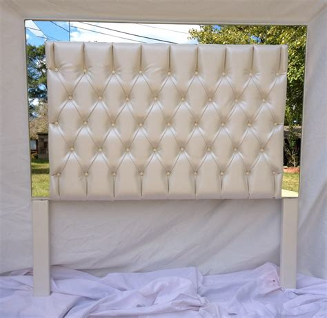 Leather Tufted Headboard Ivory Faux Leather Tufted Headboard Upholstered Headboard With