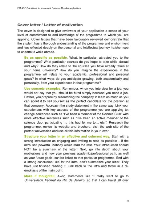 Motivation Letter Sle Erasmus Mundus Em Ace Guidelines For Successful Em Applications