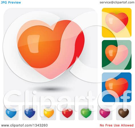 heart layout app clipart of colorful heart app icon button design elements