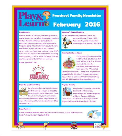 10 preschool newsletter templates free sle exle