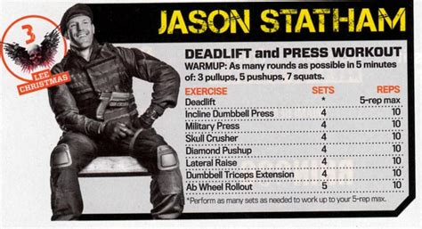 jason statham bench press the expendables 3 workout get in hollywood shape pop