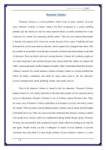 Complete Essay by Draft Essay On Domestic Violence