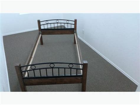 Cast Iron Single Bed Frame Single Heavy Duty Bed Frame Solid Wood And Cast Iron Look Foot Boards Outside