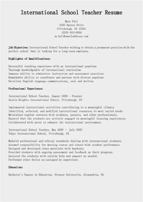 Resume Sles For Primary Teachers international teaching resume for certified 28 images