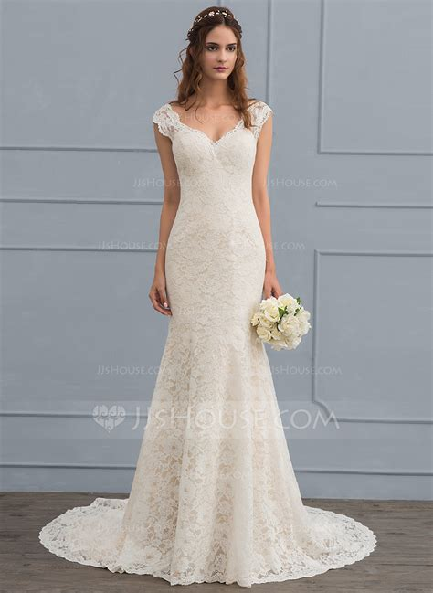 hochzeitskleid jjshouse trumpet mermaid v neck court train lace wedding dress