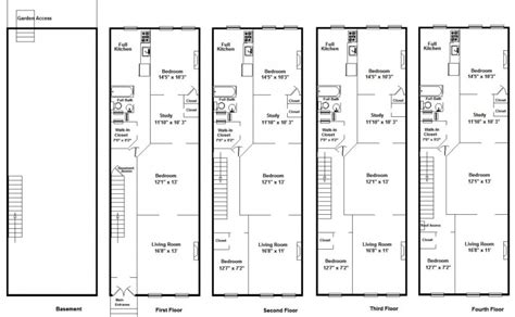 Brownstone House Plans Brownstone Row House Floor Plans