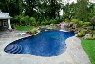 Backyard Pools Nj Backyard Swimming Pool With Boulder Waterfall Design
