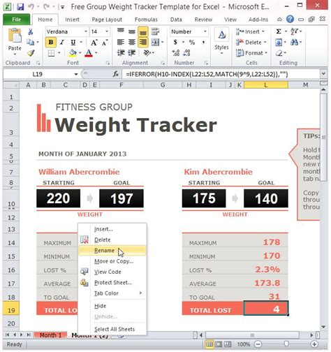 Free Group Weight Tracker Template For Excel Weight Loss Tracking Spreadsheet Template