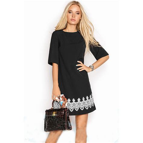 Dress Model Casual Black Style Number Impor summer dress 2018 fashion casual mini lace dress black white sleeve o neck t