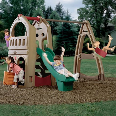 step 2 slide and swing set naturally playful playhouse climber swing extension step2