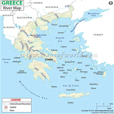 List Of All Us States by Greece River Map Rivers In Greece