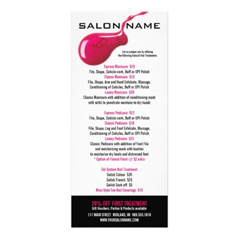 nail salon price list rack cards zazzle
