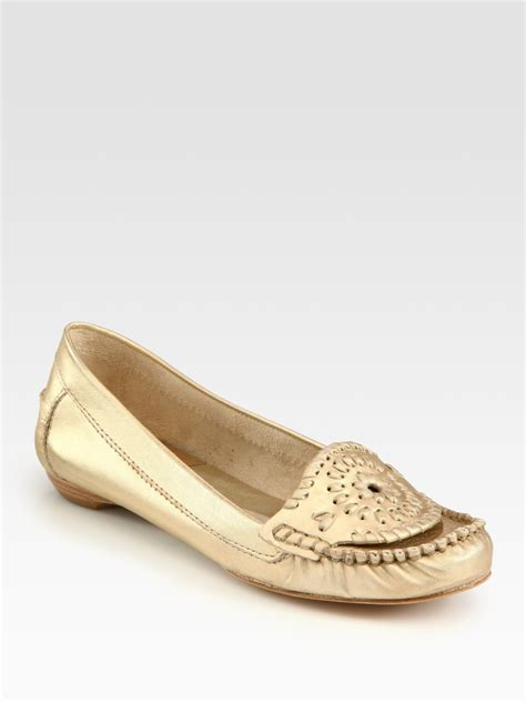 gold loafers rogers jacks metallic leather loafers in gold lyst