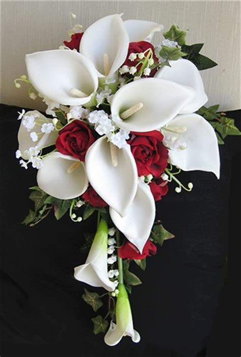 red roses off white calla lilies cascading bouquet
