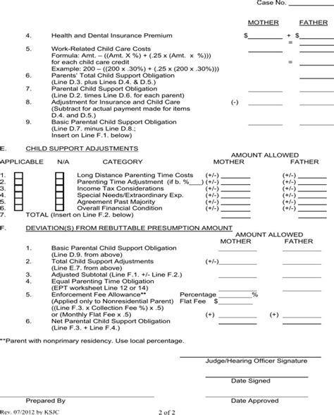 Kansas Child Support Worksheet by Kansas Child Support Worksheet For Free Page 2