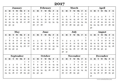 Whole Year Calendar 2017 2017 Blank Yearly Calendar Template Free Printable Templates