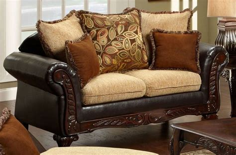 sofas doncaster doncaster fabric and espresso leatherette living room set