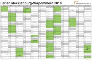 Kalender 2018 Schulferien Mv Ferien Meck Pomm 2018 Ferienkalender Zum Ausdrucken