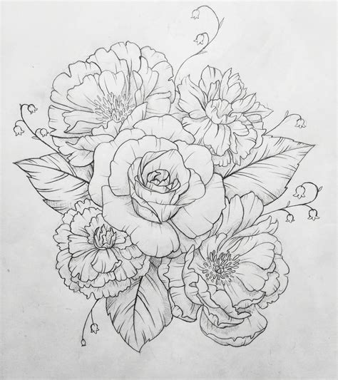 flower collage tattoo designs peony contact me for custom drawings