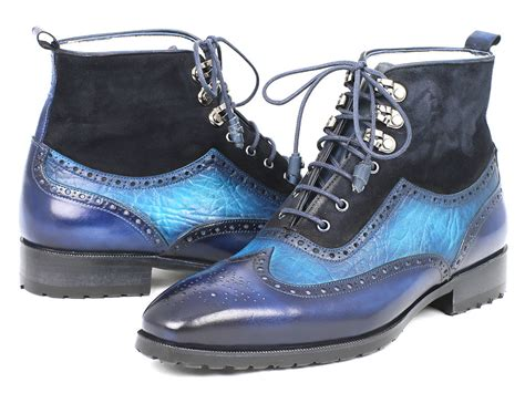 paul parkman s wingtip boots blue suede leather